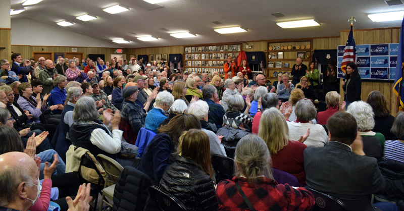 More than 250 people attended a campaign event for Sara Gideon, Democratic candidate for U.S. Senate, at the Wells-Hussey American Legion Post No. 42 in Damariscotta on Monday, Feb. 10. (Evan Houk photo)