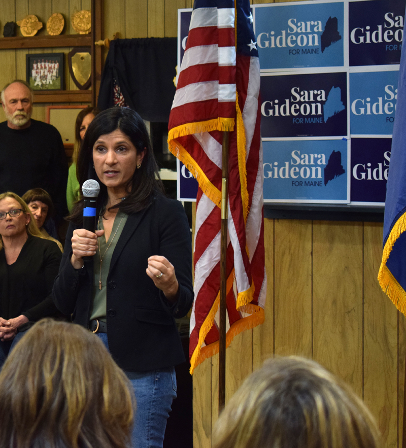 Sara Gideon, Democratic candidate for U.S. Senate, speaks to a crowd of more than 250 during a campaign stop at the Wells-Hussey American Legion Post No. 42 in Damariscotta on Monday, Feb. 10. (Evan Houk photo)