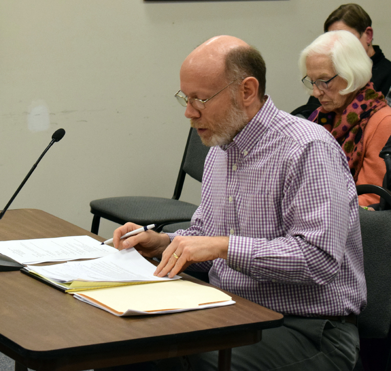 David Levesque, an attorney with an office in downtown Damariscotta, speaks at a public hearing about a historic preservation ordinance Wednesday, Feb. 5. Despite concerns, the selectmen could not remove the ordinance from the ballot because absentee voting is already underway. (Evan Houk photo)