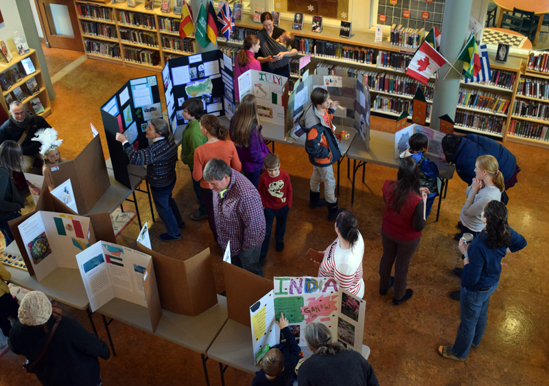 Visitors peruse the displays during Homeschooler Cultural Day at Skidompha Library in Damariscotta on Thursday, Jan. 30. (Evan Houk photo)