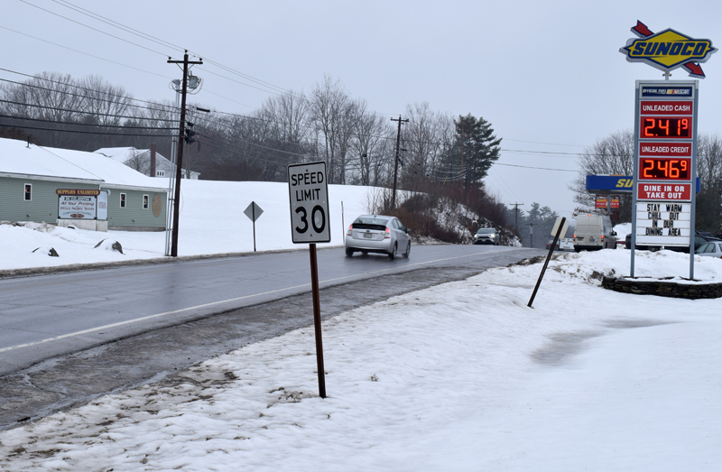 A 30-mph speed limit sign near the intersection of Main Street and School Street in Damariscotta. The Maine Department of Transportation will extend the 30-mph zone on Main Street to the intersection with Back Meadow Road within the next few weeks. (Evan Houk photo)