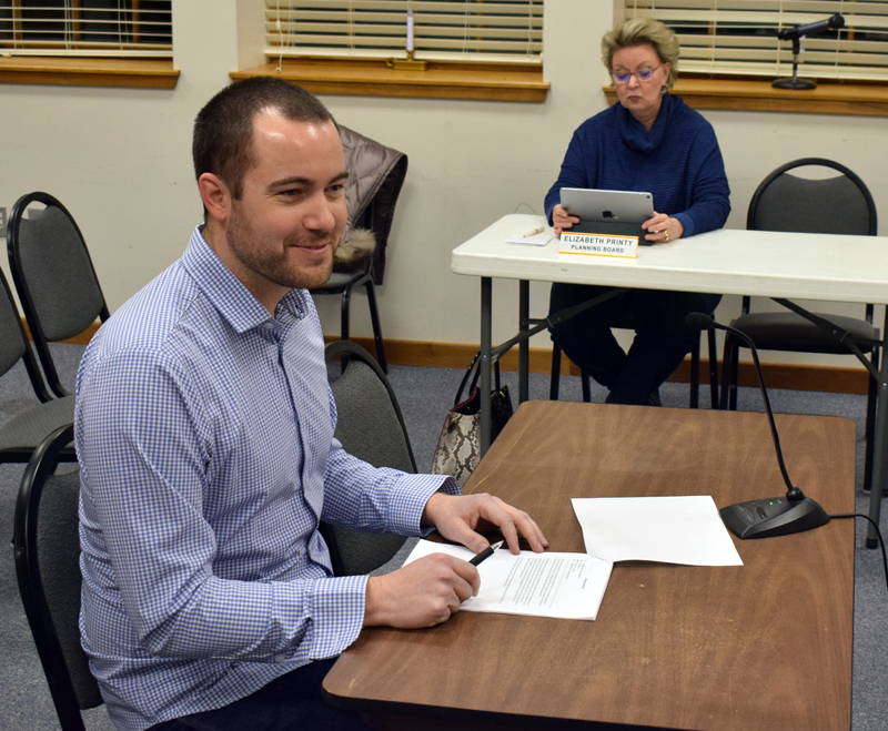 Matt Poole addresses the Damariscotta Planning Board on Monday, Feb. 3. The planning board approved Poole's request for a change of use at 60 School St., where he will open Tightlines Tackle Co. next month. (Evan Houk photo)
