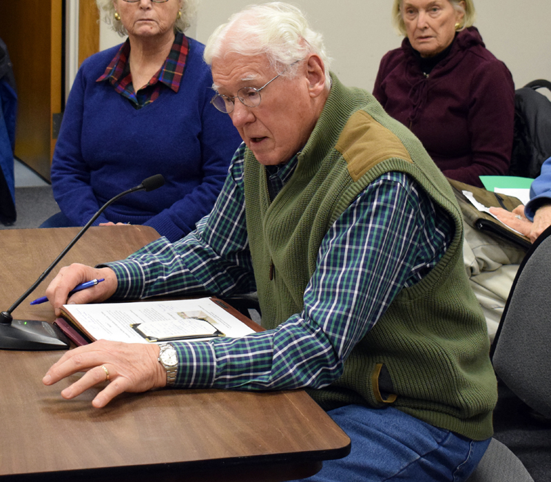 Anton Lahnston, co-founder of the Damariscotta Region Public Safety and Accessibility Collaborative, speaks in support of a tax increment financing district during a public hearing at the Damariscotta town office Wednesday, Feb. 19. (Evan Houk photo)