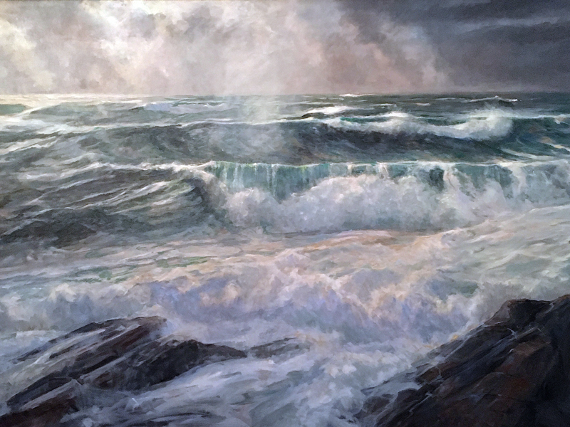 """Pemaquid Point Storm,"" an oil painting by Damariscotta artist William A. Curtis, is featured in the brand-new ArtMaine 2020 Annual Guide. (Image courtesy Willam A. Curtis)"