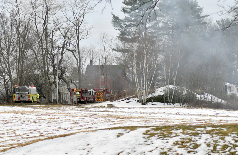 Smoke rises from a kitchen fire at a home in Newcastle's Sheepscot village the afternoon of Wednesday, Feb. 26. The fire was quickly knocked down, according to Newcastle Deputy Fire Chief Casey Stevens. (Evan Houk photo)