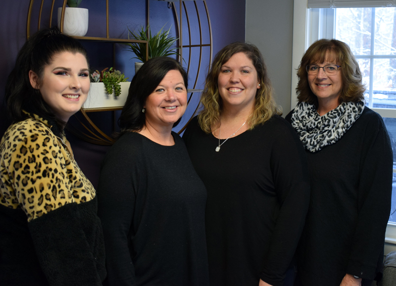 From left: hairstylists Melissa Brann, Brie McCarthy, Natasha Neal, and Terry Chapman work together at the new Lavish hair salon in Newcastle. McCarthy owns the new salon. (Evan Houk photo)