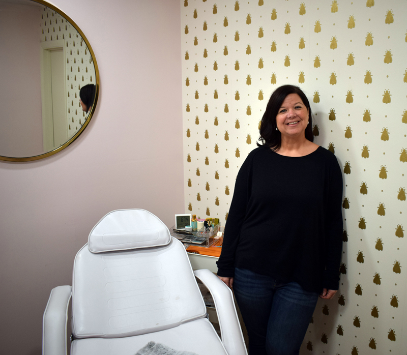 Brie McCarthy, owner of Lavish, a new hair salon at 19 Sheepscot Road in Newcastle, stands in the wax room at the salon Feb. 6. (Evan Houk photo)