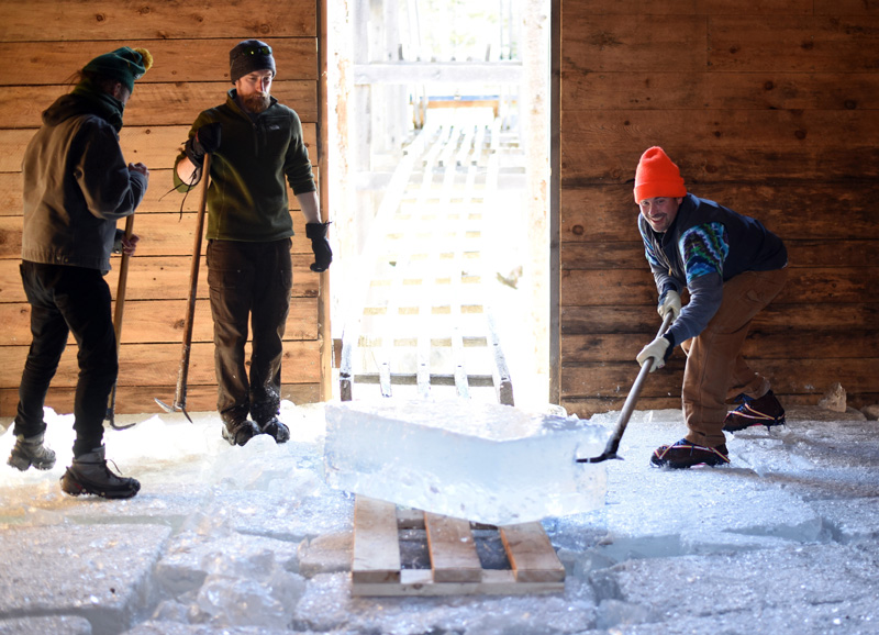 Volunteers wrangle an incoming block of ice inside the Thompson Ice House during the 2018 ice harvest. (Jessica Picard photo, LCN file)