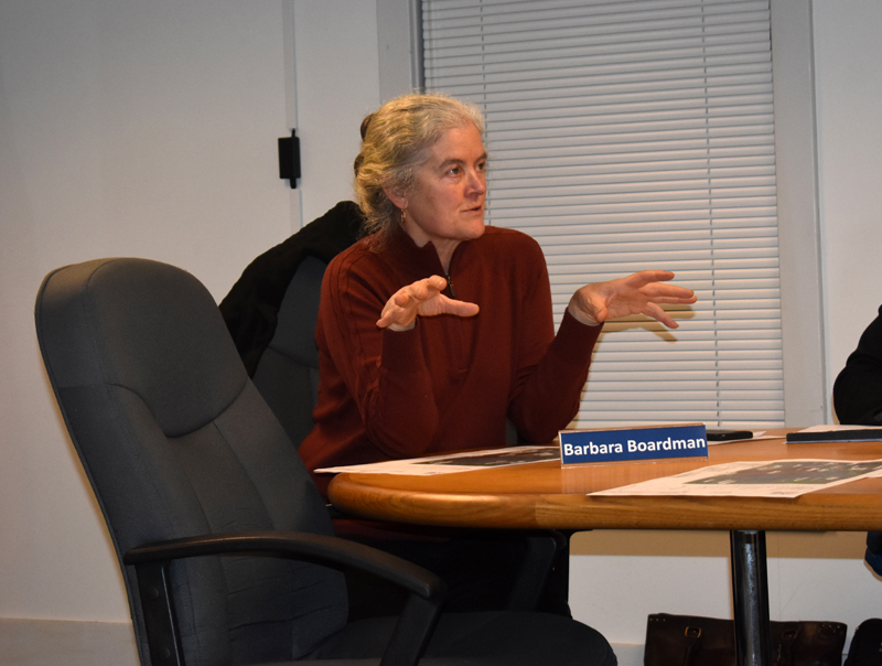 Waldoboro Planning Board member Barbara Boardman asks a question about a solar project planned for North Nobleboro Road. (Alexander Violo photo)