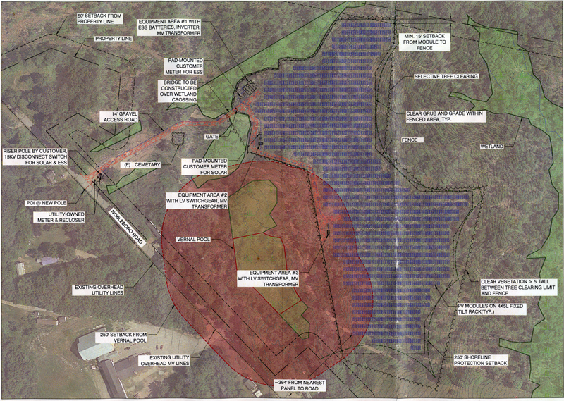 A site plan of a proposed solar farm on North Nobleboro Road in Waldoboro, with the solar panels in blue.