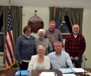 The Wiscasset Board of Selectmen poses for a photo with Town Manager John O'Connell after his announcement of his resignation Tuesday, Feb. 4. Front from left: Chair Judy Colby and O'Connell. Back from left: Selectmen Kim Andersson, Katharine Martin-Savage, Jefferson Slack, and Benjamin Rines Jr. (Charlotte Boynton photo)
