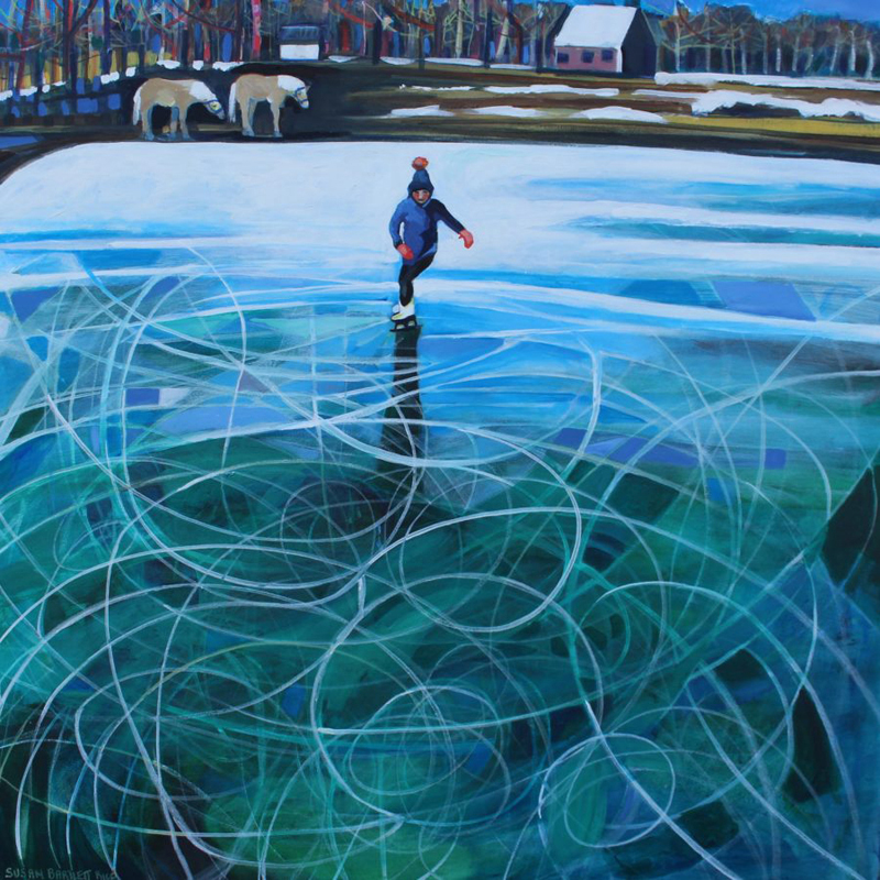 "Susan Bartlett Rice's acrylic painting ""Pasture Skating."""