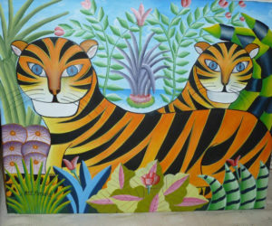 """Jungle Scene,"" by Ronald Aly, is among many other artworks on display at the Haiti Benefit Dinner."
