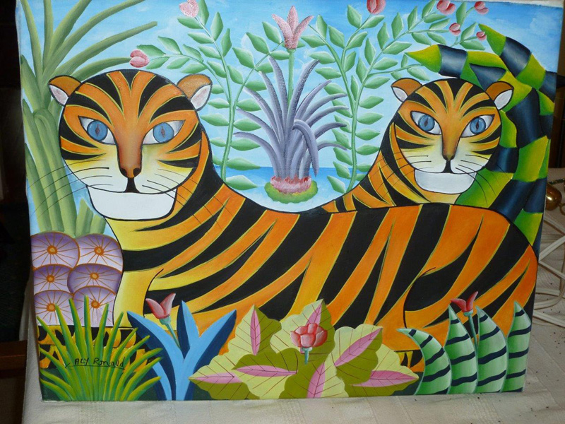 """""""Jungle Scene,"""" by Ronald Aly, is among many other artworks on display at the Haiti Benefit Dinner."""