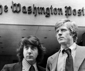 "Dustin Hoffman and Robert Redford star in ""All The President's Men."" (Movie still courtesy Harbor Theater)"