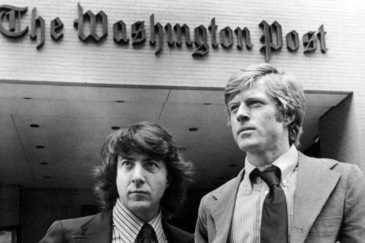 "Dustin Hoffman and Robert Redford star in ""All The President's Men."" (Movie still courtesy Harbor Theater)"