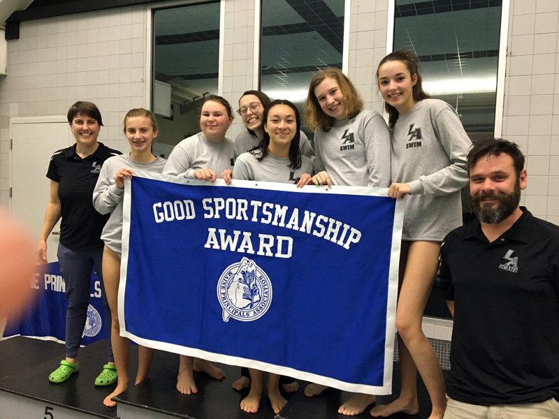 Lincoln Academy swimmers were presented with the Maine Principals' Association Good Sportsmanship Award at the state meet on Monday, Feb. 17.