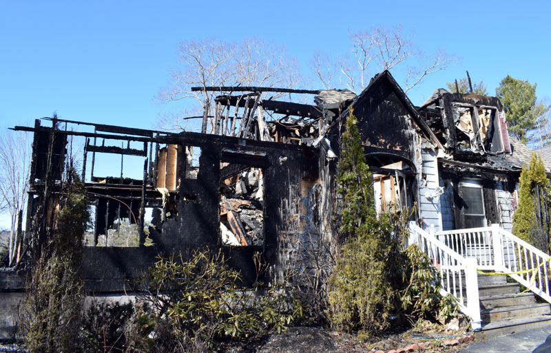 The remains of a house at 30 Sunny Acres Lane in Boothbay after a fire early Thursday, March 5. The residents were able to exit safely, but a dog and two cats died. (Evan Houk photo)