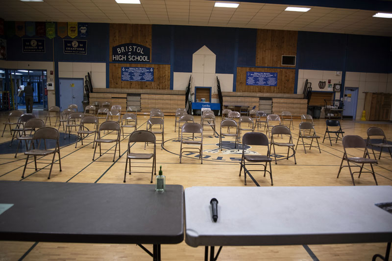 Chairs are carefully spaced for Bristol's annual town meeting in the Bristol Consolidated School gymnasium on Tuesday, March 17. The town held an abbreviated meeting and encouraged social distancing. (Bisi Cameron photo)