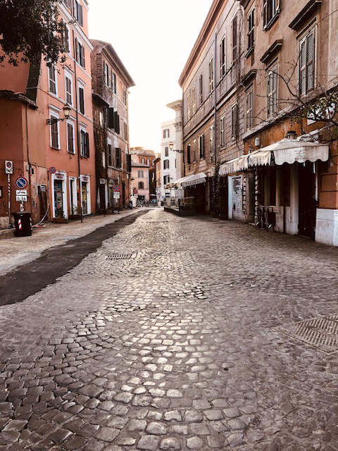 An empty street in Rome. Italy is under a nationwide lockdown to slow the spread of the coronavirus. (Photo courtesy Kate Aldrich)