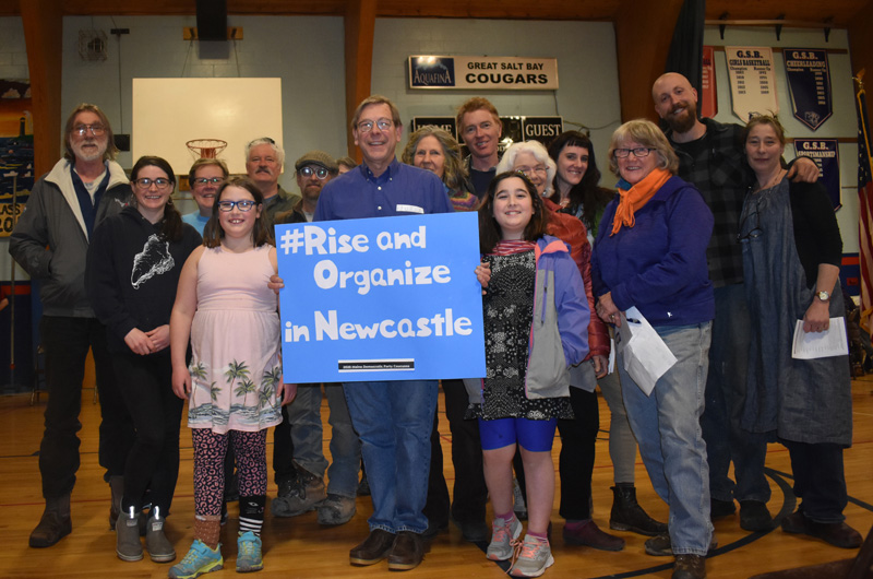 Democratic caucus goers from Newcastle pose for a photo after their caucus at Great Salt Bay Community School in Damariscotta on Sunday, March 8. (Alexander Violo photo)