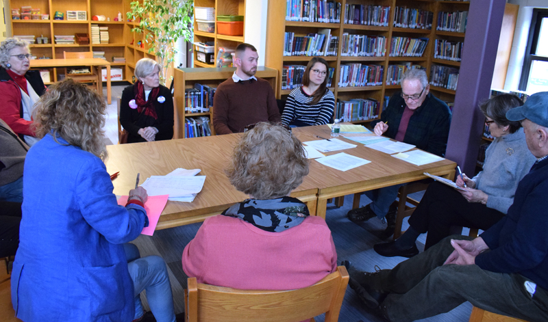 Wiscasset Republicans work to elect officers and delegates to the state convention during their caucus at Great Salt Bay Community School in Damariscotta on Saturday, Feb. 29. (Evan Houk photo)