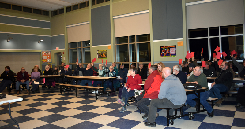 Jefferson residents vote down a moratorium on new gravel pits and expansions of existing gravel pits during a special town meeting at Jefferson Village School on Monday, March 2. (Alexander Violo photo)