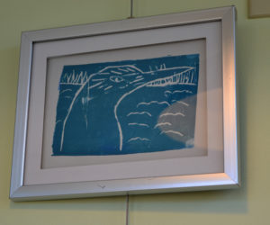 A block print of a salt marsh bird, made by a student in Chewonki's fifth and sixth grade printmaking unit, is part of the current Chewonki elementary and middle school art exhibit, running through the end of March at Rising Tide Co-op in Damariscotta. (Christine LaPado-Breglia photo)
