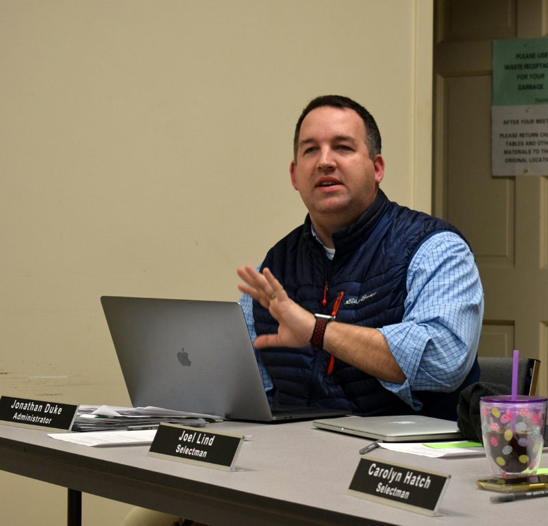 Newcastle Town Administrator Jon Duke speaks on the change to a town manager form of government during a special town meeting at the fire station Monday, March 9. Voters approved the change. (Evan Houk photo)