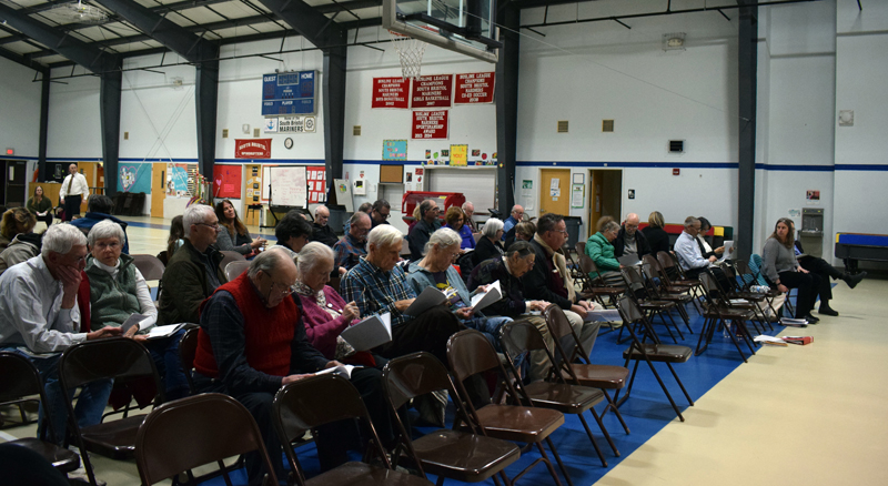 South Bristol voters attend annual town meeting at South Bristol School on Tuesday, March 10. (Evan Houk photo)