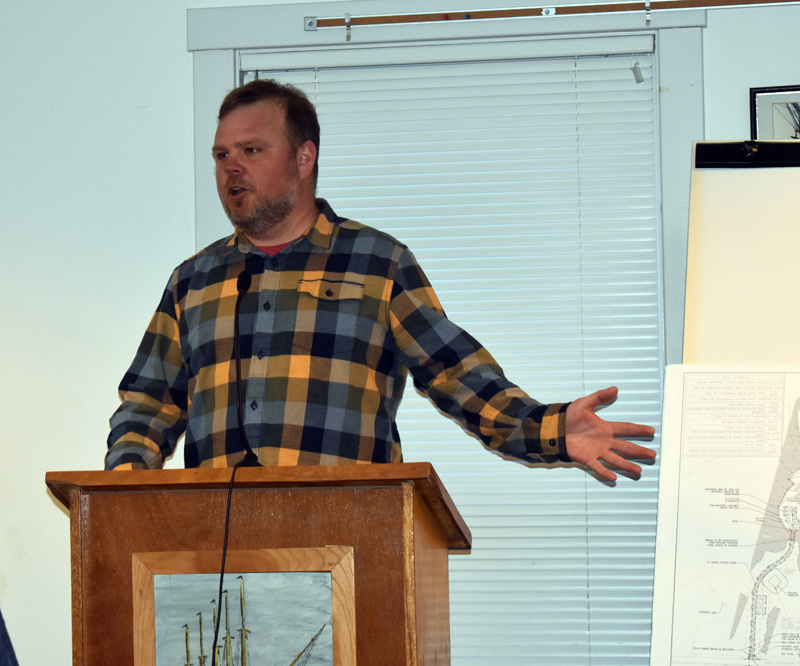 Joe Harrison, director of project development at SunRaise Investments, addresses the Waldoboro Planning Board on Wednesday, March 11. The board approved the New Hampshire developer's plans for a 3-megawatt solar farm on North Nobleboro Road. (Alexander Violo photo)