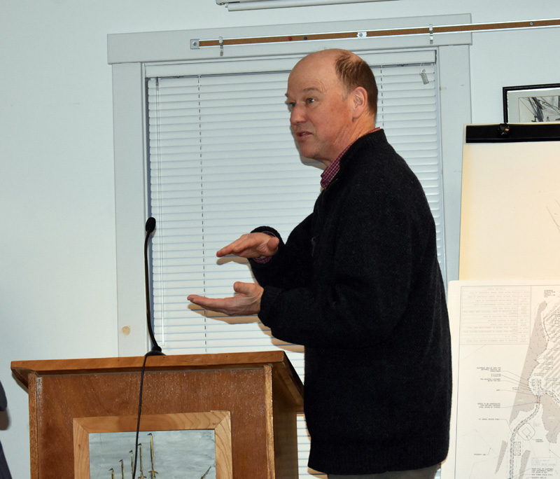 Brooke Barnes, principal of environmental services at Stantec, fields questions on a proposal for a 3-megawatt solar farm before the Waldoboro Planning Board on Wednesday, March 11. (Alexander Violo photo)