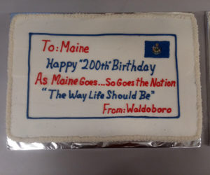 The cake from the supper celebration in Waldoboro. (Photo courtesy Bill Maxwell)