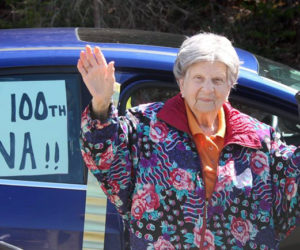 Gina Rayburn, of Bristol, waves to friends on her 100th birthday, March 27. (Photo courtesy Vicki Loveridge)