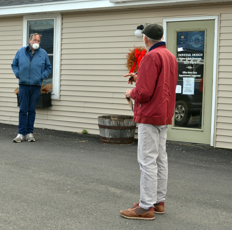 Coastal Cannabis Co. LLC co-owner Dave Page (left) tells Damariscotta Town Planner Bob Faunce about his plans for the business during a site walk at 53A Chapman St. the evening of Monday, April 20. (Maia Zewert photo)
