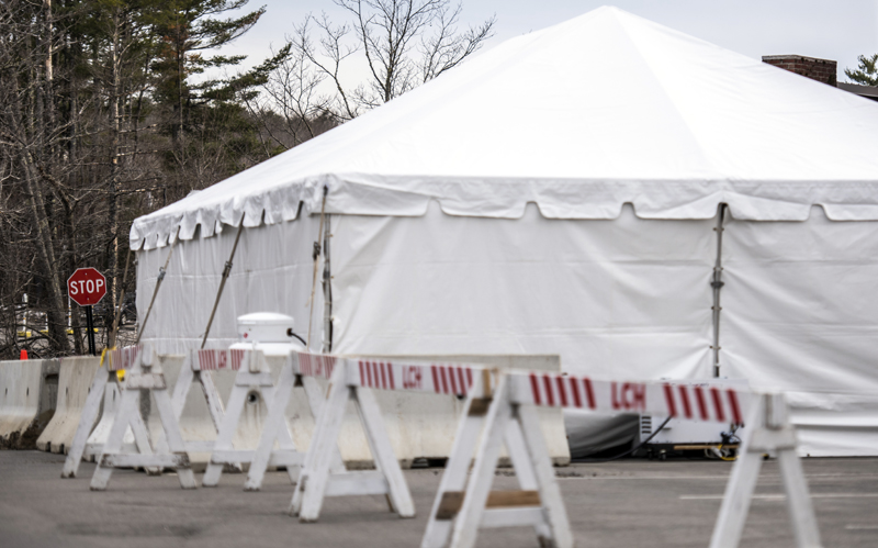 A new triage tent is ready for patients on LincolnHealth's Miles Campus in Damariscotta, Saturday, March 28. The tent will minimize risk to employees and patients by allowing LincolnHealth staff to diagnose non-COVID-19 patients in a separate space. (Bisi Cameron Yee photo)