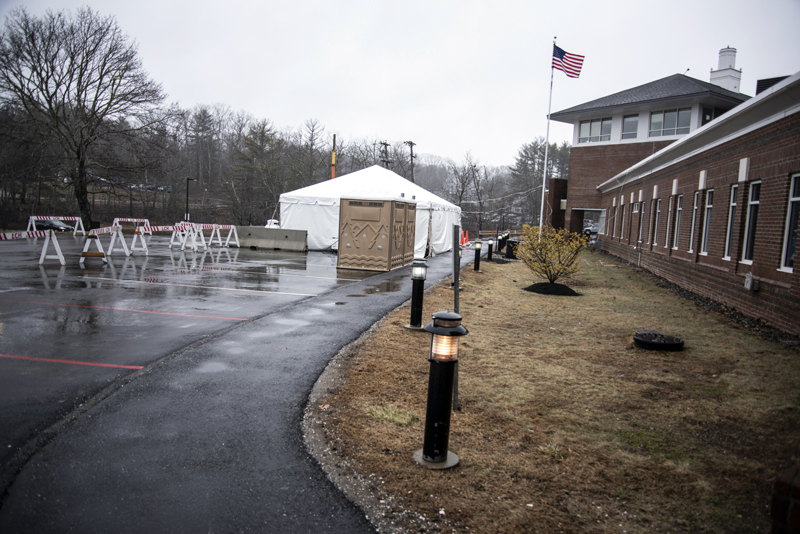 A triage tent stands in a parking lot on LincolnHealth's Miles Campus in Damariscotta, Monday, March 30. The tent will enable staff to diagnose patients with less risk of exposure to the coronavirus. (Bisi Cameron Yee photo)