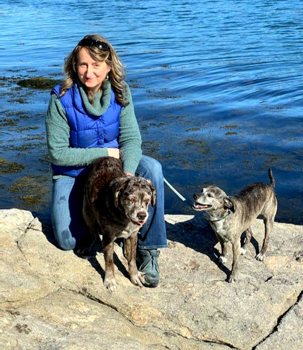 Hope Prentice with her dogs, Moxie and Phira.