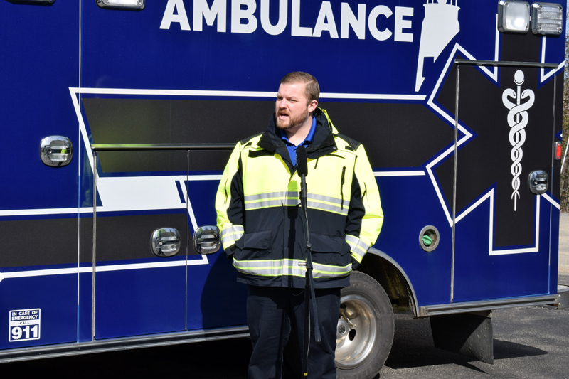Service Chief Nick Bryant, of the Central Lincoln County Ambulance Service, provides a COVID-19 update in an interview with Lincoln County Television on Monday, April 6. (Evan Houk photo)