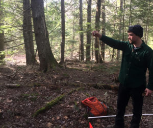Noah Begin, of Damariscotta, uses a 10-BAF prism to determine which trees to measure over a plot center, indicated by an orange flag. Begin is pursuing a master's degree in forestry from the University of Maine. (Photo courtesy Jenny Begin)