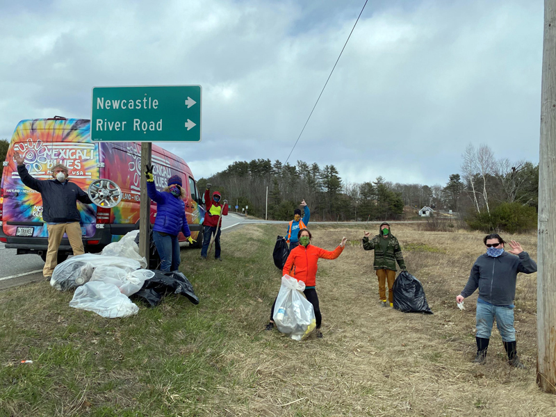 The Mexicali Blues' warehouse crew stays physically distant but socially responsible during its Earth Day cleanup along Route 1.
