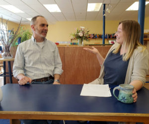 Head of School Chip DeLorenzo and Head Lower Elementary Teacher Shawnaly Tabor prepare a video series on positive discipline to share with Lincoln County families online.