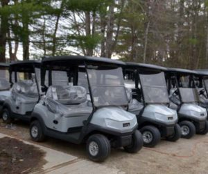 New golf carts at Sheepscot Links in Whitefield are ready for the course to reopen Friday, May 1. (Paula Roberts photo)