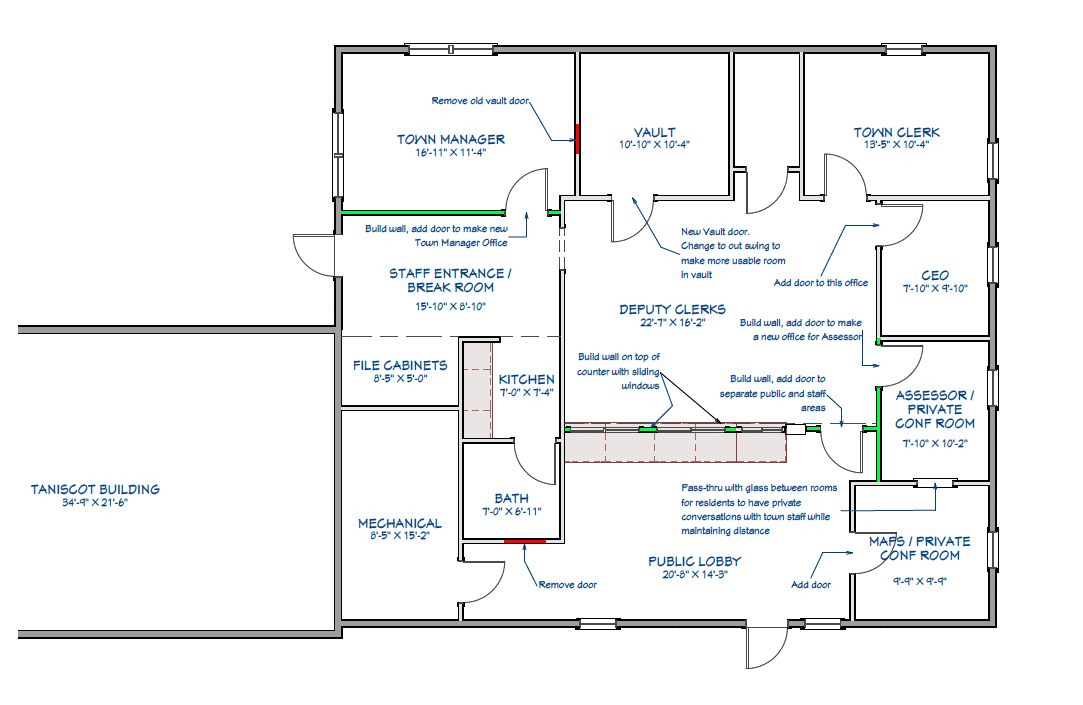 A blueprint shows the future layout of the Newcastle town office.