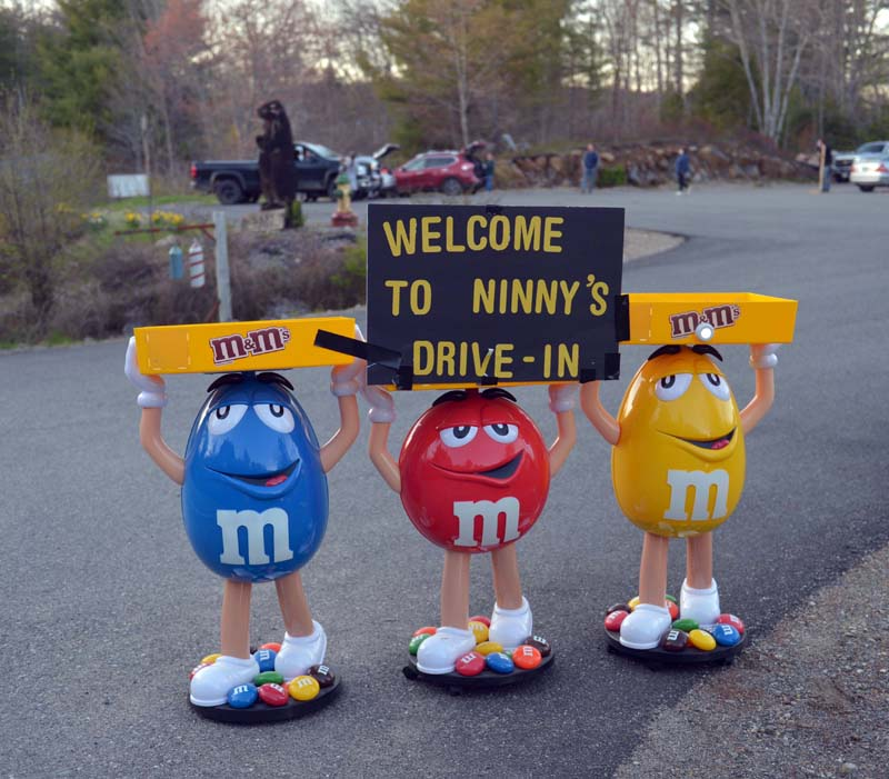 "M&M's welcome visitors to ""Ninny's Drive-in,"" the makeshift theater at Country Coach Charters on East Pond Road in Nobleboro. (Paula Roberts photo)"