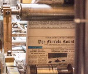 The Lincoln County News goes to press in Newcastle on May 6. (Bisi Cameron Yee photo)
