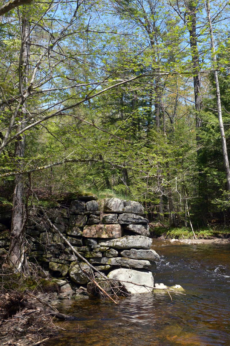 Rocks from an old bridge site on the Sheepscot River. (Paula Roberts photo)