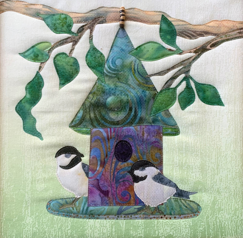 """Chickadees,"" by Robin Shott, is one of several mounted pictorial quilts the Shottery Gallery will feature this summer."