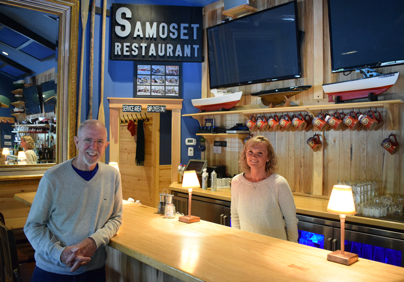 From left: Cary Myles, the new owner of The Harbor Room, and Cortney Geyer, the new manager, stand by the bar of the New Harbor restaurant Monday, June 1. Myles and Geyer expect to reopen the restaurant in late June or early July. (Evan Houk photo)