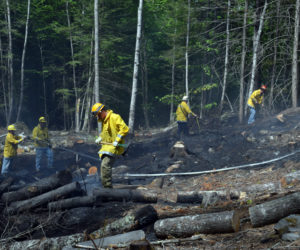 A team of firefighters works to locate hot spots after a brush fire off Stoneybrook Lane in Bristol the afternoon of Tuesday, June 2. (Evan Houk photo)